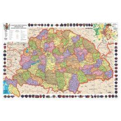 A Magyar Szent Korona Országai falitérkép fémléces-fóliás 140x100 cm