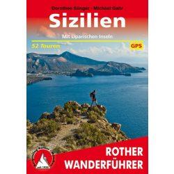 Szicília túrakalauz, Lipari-szigetek térkép, kalauz Bergverlag Rother német