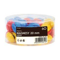 Táblamágnes, mágneses jelölő, 60 db 20 mm-es kör alakú gomb, vegyes színű