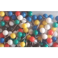 Térképtű gömbfejű vegyes színű, 6 mm-es gömbfej, 16 mm-es tű, 100 db-os