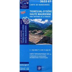3633 ET. Tignes turista térkép, Val-d'Isere turista térkép IGN  1:25e