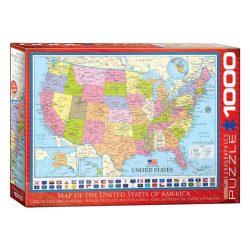 USA államai puzzle, USA puzzle Map of the USA - 1000 db-os USA térkép puzzle EuroGraphics