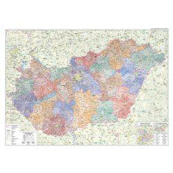 Tűzdelhető Magyarország vászonkép - politikai Magyarország vászon térkép hablapra kasírozva, keretre kifeszítve