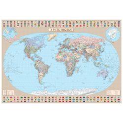 Keretre kifeszített világtérkép vászonkép - Föld országai vászon térkép - Világ országai falitérkép - magyar nyelvű