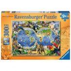 A világ állatai Puzzle Ravensburger 300 darabos XXL képkirakó, Világtérkép