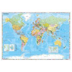 Világtérkép, Föld országai térkép, Világ országai falitérkép fémléces - fóliás Stiefel 140x100 cm