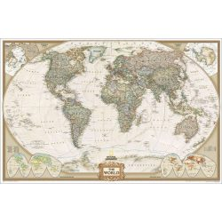Világtérkép, a Föld országai falitérkép antik színű National Geographic 186x125