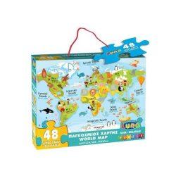 Állatos Világtérkép 48db-os puzzle Luna 90x60cm