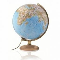 Világító földgömb 30 cm-es fatalpas, kék színű National Geographic földgömb