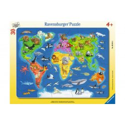 Gyerek világtérkép puzzle állatokkal - 30 db-os keretes puzzle, Világtérkép puzzle Ravensburger Világ puzzle kirakó 32,5x24,5 cm