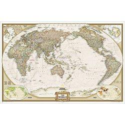 Világ országai falitérkép antikolt világtérkép National Geographic - Csendes-Óceán központú 117x76 cm