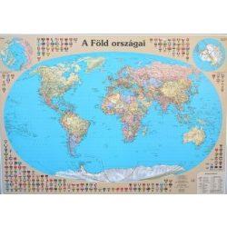 A Föld országai fóliázott falitérkép faléccel Nyír-Karta  120x86 cm, Világ falitérkép magyar nyelvű