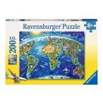 Nevezetességek világtérképe - 200 db-os panoráma puzzle Ravensburger Világtérkép képkirakó 49x36 cm