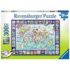Világtérkép puzzle képekkel, Ravensburger Puzzle 300 db-os XXL képkirakó  49 x 36 cm