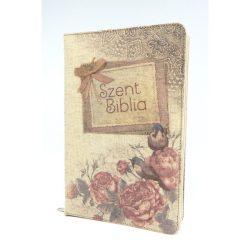 Közepes Biblia Károli Gáspár fordítás - Vintage Virágos Biblia - Cipzárral - Regiszterrel 12x18,5 cm